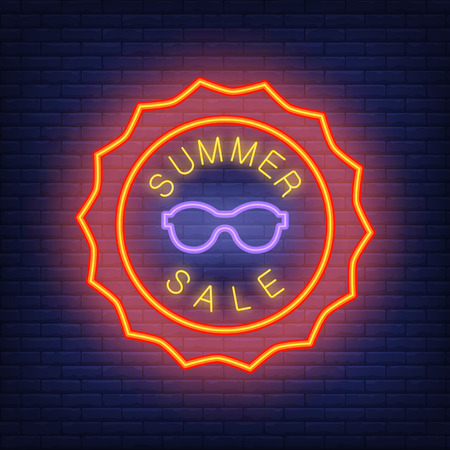 Summer sale lettering in neon style. Vector illustration with glowing text in sun shaped orange frame and violet sunglasses. Template for night bright banners, billboards, signboards