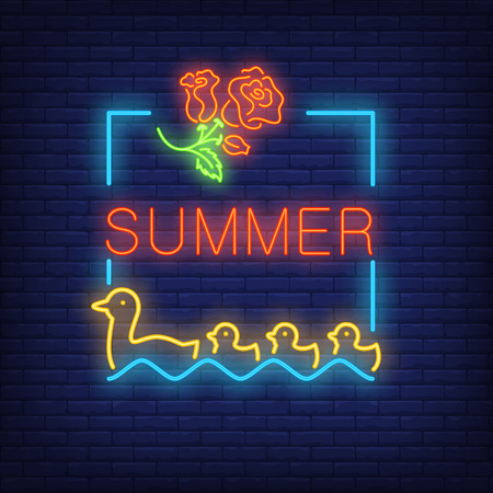 Summer neon text in frame with roses and duck with ducklings. Seasonal offer or sale advertisement design. Night bright neon sign, colorful billboard, light banner. Vector illustration in neon style.