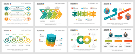 Colorful startup and management infographic charts set. Business design elements for presentation slide templates. Consulting concept can be used for annual report, flyer layout and banner design.
