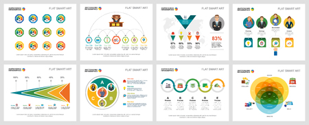 Colorful planning and marketing concept infographic charts set. Business design elements for presentation slide templates. Can be used for financial report, workflow layout and brochure design. Vector Illustration