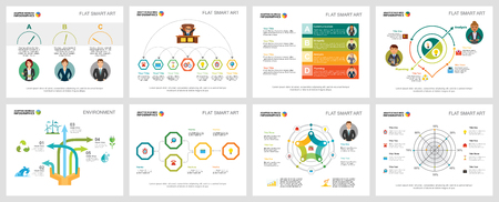 Colorful planning or economy concept infographic charts set. Business design elements for presentation slide templates. For corporate report, advertising, leaflet layout and poster design.