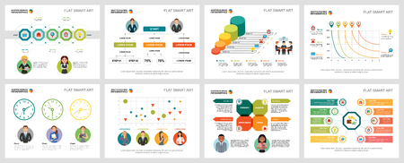 Colorful workflow or teamwork concept infographic charts set. Business design elements for presentation slide templates. Can be used for annual report, advertising, flyer layout and banner design.