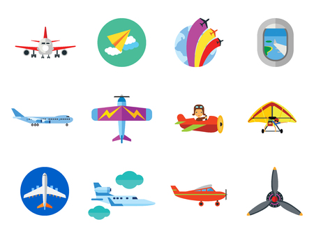 Plane Icon Set. Air Show Paper Plane Flying Aeroplane Airplane Propeller Big Aircraft Jet Kids Flying Toy Light Plane Old Flying Machine Window Airplane Front View Hang-glider