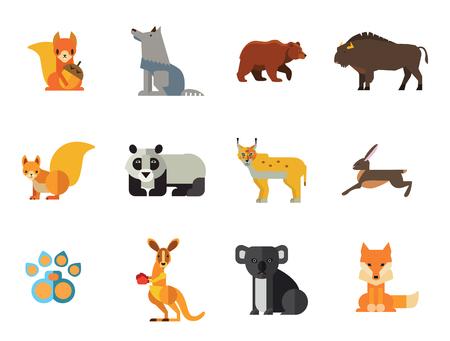 Conjunto de iconos de animales salvajes. Rastro de pata de oso Koala Liebre Lynx Zorro Ardilla Panda Ardilla con nuez Canguro Lobo Wisent