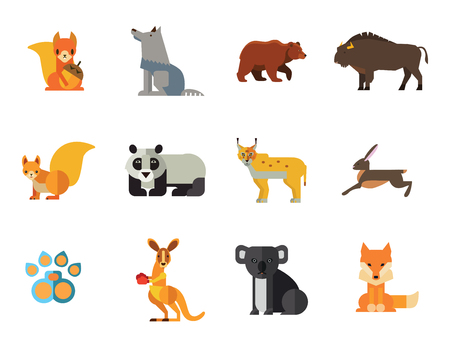 Zestaw ikon dzikich zwierząt. Łapa niedźwiedzia Ślad Koala Zając Ryś Lis Wiewiórka Wiewiórka Panda Z orzechem Kangur Wilk Żubr