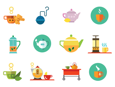 Tea icons set with teapot, tea cup and tea strainer. Thirteen vector icons