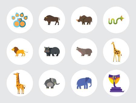 Afrikanische Tiere Icon Set. Pfotenspur Zebra Löwe Nashorn Kobra Nilpferd Großer Elefant Ochse Giraffe Fetter Elefant Weinendes Nilpferd Wütende Kobra Junge Giraffe