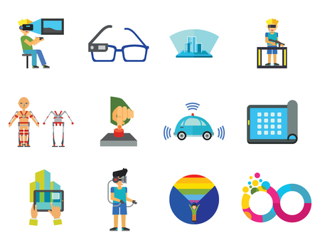 Technology Of Future Icon Set. Virtual Glasses Exoskeleton Flexible Display Pressing Button VR Gaming Smartwatch Augmented Reality Self-driving Car Virtual Reality On Coming Out Hologram