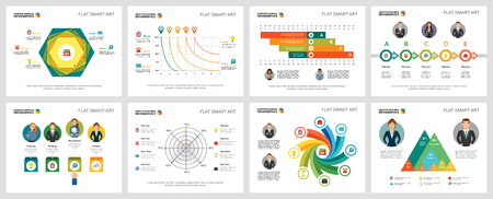 Colorful finance and analysis concept infographic charts set. Business design elements for presentation slide templates. For corporate report, advertising, leaflet layout and poster design.