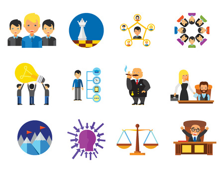 Strategy Icon Set. Team Structure Common Idea Director Executive Manager Rich Person Team Time Management Challenge Boss Scales Strategic Management Vision Team Leader 向量圖像