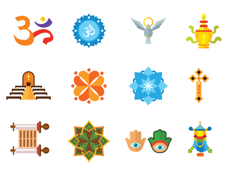 Religion vector icons set with Om sign, Hamsa amulet and Holy Spirit dove. Thirteen flat icons