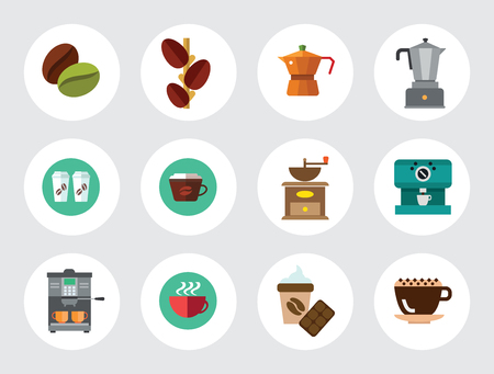 Coffee Icon Set. Beans Machine Mill Coffee And Chocolate Growing Beans Pot Turkish Pot Takeaway Cups Cappuccino Cup Disposable Cup Hot Coffee