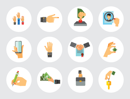 Business Hand Icon Set. Thumb Up Press Button Pointing Finger Writing Raising Hands Palm Key Phone Puzzle Element Briefcase Hand With Banknotes Magnifier Partnership