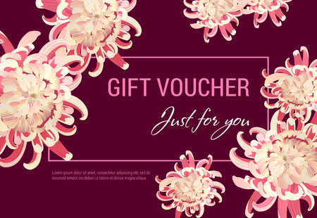Just for you gift certificate design with pink flowers and frame on vinous background. Text can be used for coupons, vouchers, flyers Ilustração