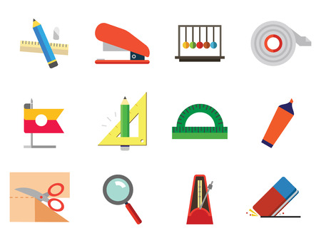 Stationery vector icons set. Thirteen icons of collision balls, protractor, eraser and other office stationery Illustration