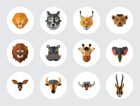 Animal Faces Icon Set. Lion Head Zebra Hippo Giraffe Lion Face Wolf  Elephant Antelope Meerkat Head Doe Ox Face Red Lynx Head Bull