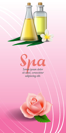 Spa brochure design with rose, white tropical flower and massage oil on pink background. Text can be used for leaflets, flyers, banners, posters Vettoriali