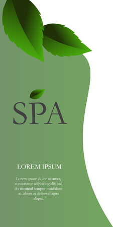 Spa lettering on white and green background. Vertical banner with realistic leaves and place for text. Illustration with lettering can be used for invitations, posters and leaflets