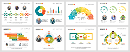 Colorful strategy or planning concept infographic charts set. Business design elements for presentation slide templates. For corporate report, advertising, leaflet layout and poster design.