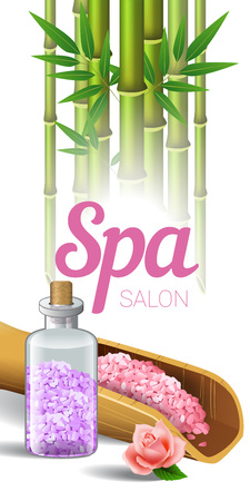 Spa salon lettering, bamboo and salt in scoop and bottle. Spa salon advertising poster design. Typed text, calligraphy. For leaflets, flyers, brochures, posters or banners.