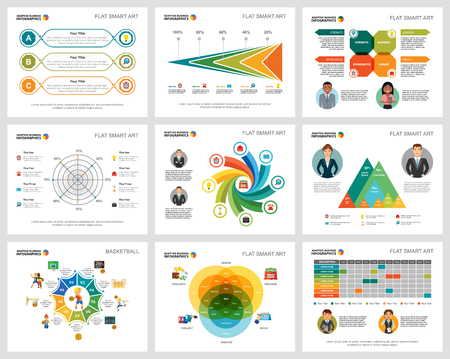 Colorful basketball or finance concept infographic charts set. Business design elements for presentation slide templates. Can be used for annual report, advertising, flyer layout and banner design.