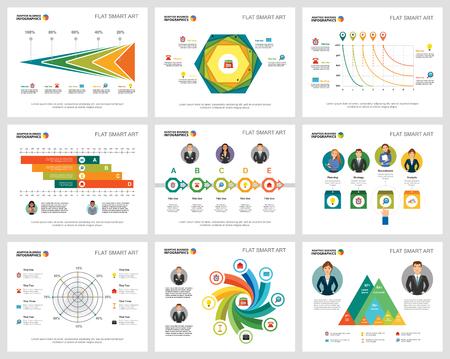 Ensemble de graphiques d'infographie concept coloré finance et analyse. Éléments de conception commerciale pour les modèles de diapositives de présentation. Pour les rapports d'entreprise, la publicité, la mise en page de dépliants et la conception d'affiche.