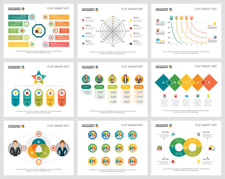 Colorful marketing and planning concept infographic charts set. Business design elements for presentation slide templates. Can be used for financial report, workflow layout and brochure design.