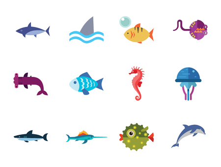 Iconos de peces con delfines, tiburones y caballitos de mar. Trece iconos vectoriales
