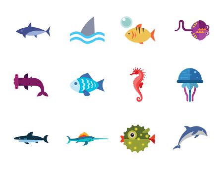 Zestaw ikon ryb z delfinami, rekinami i konikami morskimi. Trzynaście ikon wektorowych