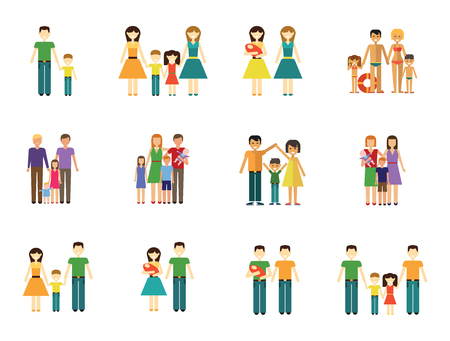 Family Icon Set. Couple With Baby Family With Children Man and Woman With Child Happy Woman and Man Gay Couple With Baby Non-traditional Family Father And Son Mother And Daughter People On Beach Illustration