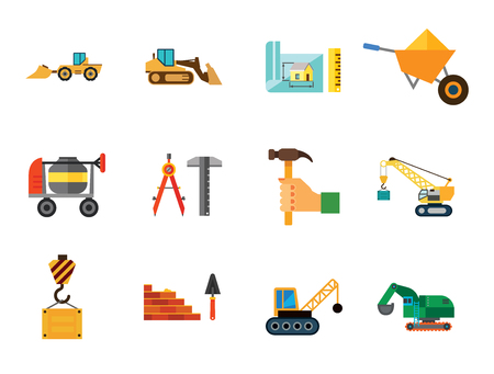 Construction Site Icon Set. House Scheme Bricklaying And Trowel Bulldozer Skid Loader Excavator House Scheme And Ruler Wheelbarrow Crane Hook Crane With Wrecking Ball Crane Hand With Hummer Compasses