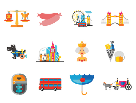 England Icons Set. United Kingdom English Language Fish And Chips Dog London Bus Coach Horse London Rain Canned Fish Sausages Scales London Tower Bridge Queen Vettoriali