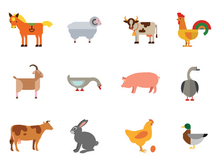 Farm Animal Icon Set. Cow Hen And Egg Turkey Goose Cockerel Duck Goat Pecking Goose Ram Pig Horse Rabbit Spotted Cow