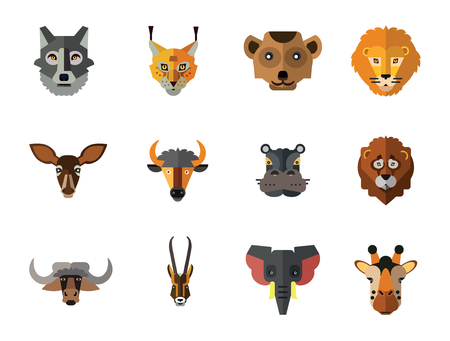 Animal Faces Icon Set. Lion Head Zebra Hippo Giraffe Lion Face Wolf Elephant Head Antelope Meerkat Head Doe Ox Face Red Lynx Head Bull 向量圖像