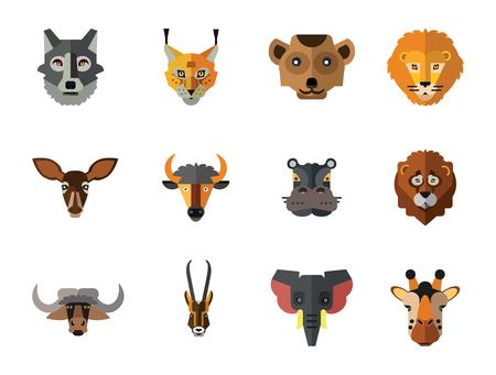 Insieme dell'icona di facce di animali. Testa di leone Zebra Ippopotamo Giraffa Faccia di leone Lupo Testa di elefante Antilope Testa di suricato Daina Faccia di bue Lince rossa Testa di toro