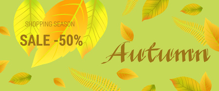 Autumn sale lettering with leaves. Shopping season sale fifty percent lettering with green and golden background. Illustration with lettering can be used for banner, posters and leaflets