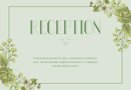 Reception card template with blossom, rose and lily of valley on light green background. Text in frame can be used for wedding invitations, postcards, save the date design
