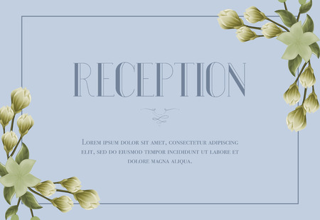 Reception card template with snowdrops and lily on blue background. Text in frame can be used for wedding invitations, postcards, save the date design
