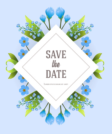Save the date design template with blue primula flowers. Handwritten text, calligraphy. Celebration concept. Can be used for invitation, flyer, brochure Ilustração