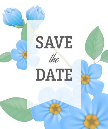 Save the date template with blue primula flowers on white background with transparent frame. Handwritten text, calligraphy. Event concept. Can be used for invitation, flyer, brochure