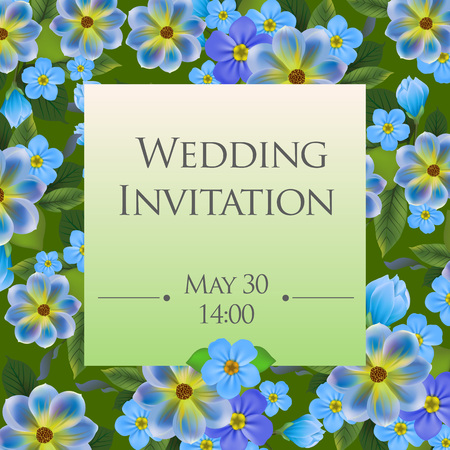 Wedding invitation card template with forget me nots in background. Text on square shape can be used for invitations, postcards, save the date design