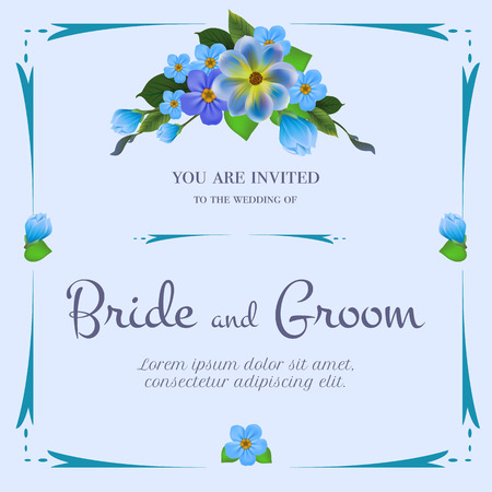 Wedding invitation design with bunch of blue flowers on light blue background. Text in frame can be used for invitation cards, postcards, save the date templates