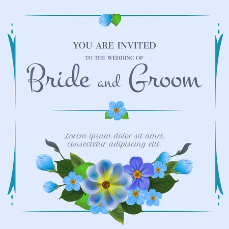 Wedding invitation design with forget me nots on light blue background. Text in frame can be used for invitation cards, postcards, save the date templates