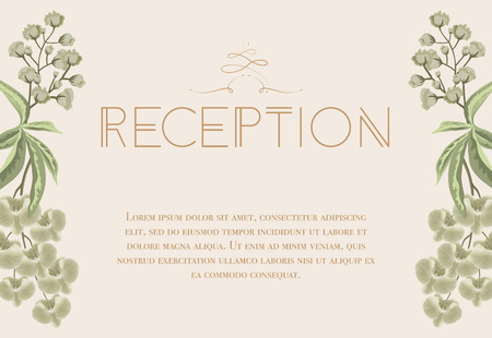 Wedding Reception Card Design With Iris And Lily Of Valley