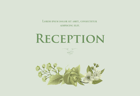 Wedding reception card template with blossom, rose and lily of valley on light green background. Text can be used for invitation cards, postcards, save the date design Stock Illustratie