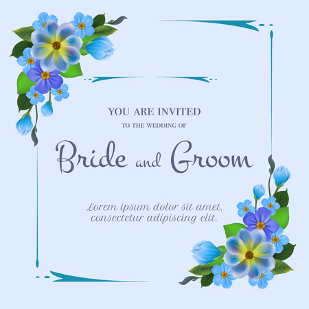 Wedding invitation design with blue flowers on light blue background. Text in frame can be used for invitation cards, postcards, save the date templates