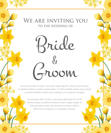Wedding invitation design with yellow flowers. Text in frame can be used for invitation cards, postcards, save the date templates Ilustração
