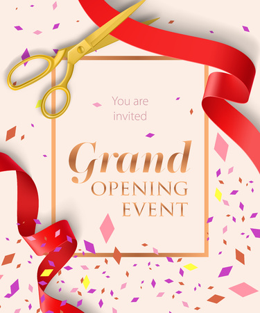 Grand opening event lettering with confetti. Opening event invitation design. Typed text, calligraphy. For leaflets, brochures, invitations, posters or banners.