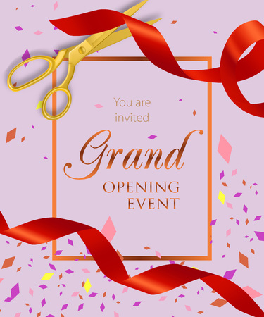 Grand opening event lettering with scissors and ribbons. Opening event invitation design. Typed text, calligraphy. For leaflets, brochures, invitations, posters or banners.