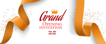 Grand opening invitation design with confetti, gold ribbons and crown. Festive template can be used for banners, flyers, posters. Illustration